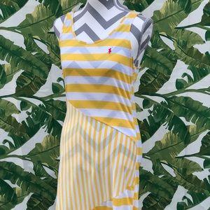 Ralph Lauren Pole Yellow Stripes Maxi Dress